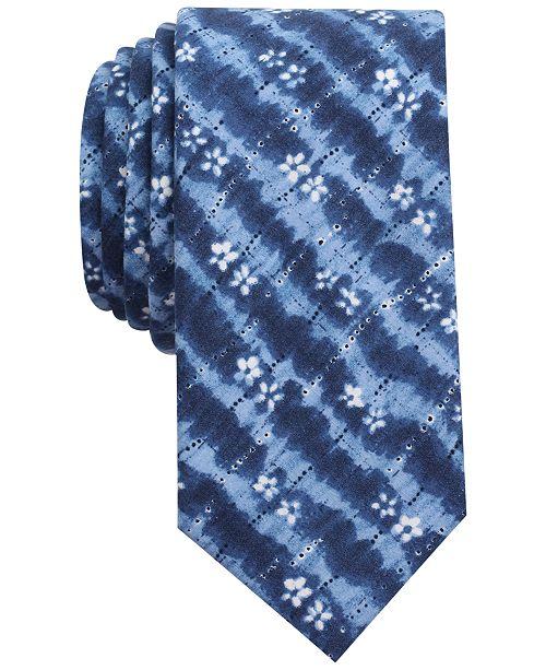 Bar III Men's Indigo Tie Dye Print Skinny Tie, Created for Macy's