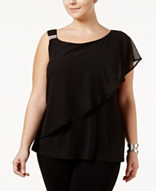 Belldini Plus Size One-Shoulder Top