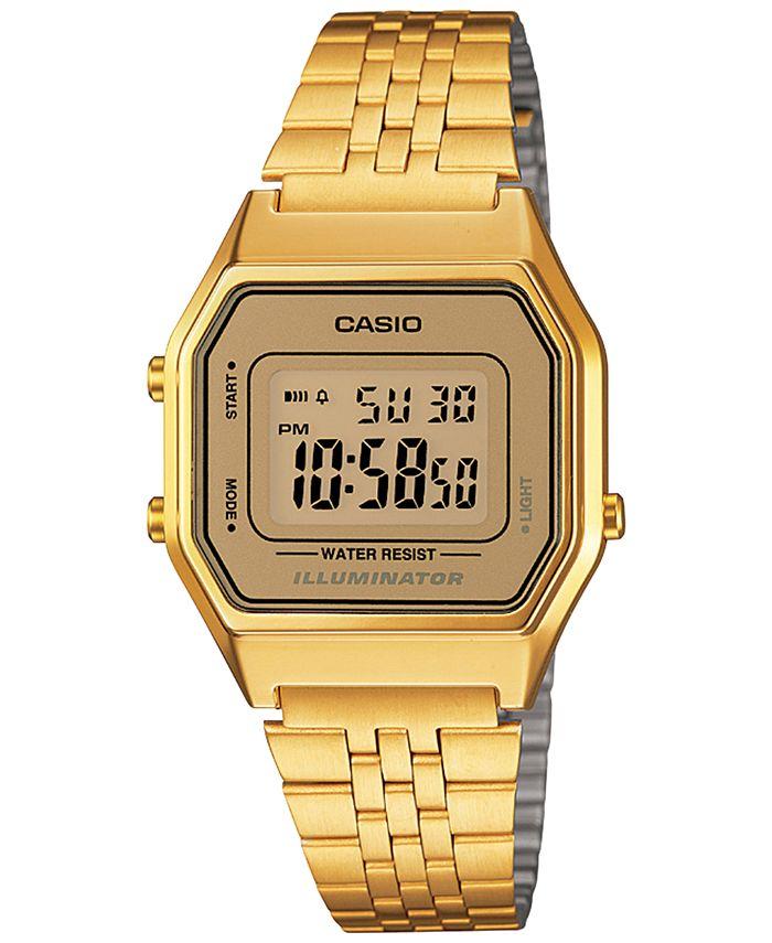 Casio - Women's Digital Vintage Gold-Tone Stainless Steel Bracelet Watch 28mm LA680WGA-9MV