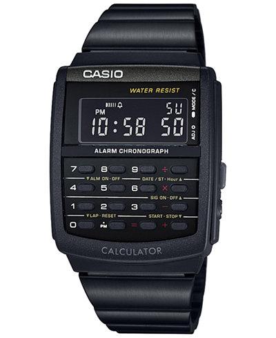 Casio Men's Digital Calculator Vintage Black Resin Bracelet Watch 35x35MM CA506B-1AVT