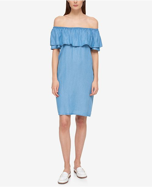 Tommy Hilfiger Ruffled Off-The-Shoulder Dress, Created for Macy's