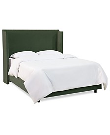 Jada Full Nail Button Wing Back Bed, Quick Ship