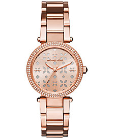 Michael Kors Women's Mini Parker Rose Gold-Tone Stainless Steel Bracelet Watch 33mm MK6470