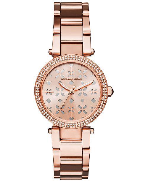 b720cdee0f0c ... Michael Kors Women s Mini Parker Rose Gold-Tone Stainless Steel  Bracelet Watch 33mm MK6470 ...