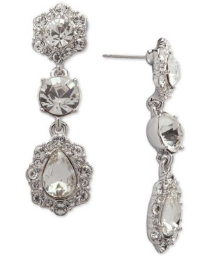 CRYSTAL AND PAVE TRIPLE DROP EARRINGS
