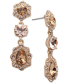 Givenchy Crystal and Pavé Triple Drop Earrings