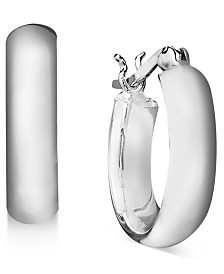 Giani Bernini Small Sterling Silver Round Flat Hoop, 0.6""