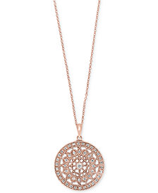 EFFY Diamond Disc Pendant Necklace (1/4 ct. t.w.) in 14k White or Yellow Gold