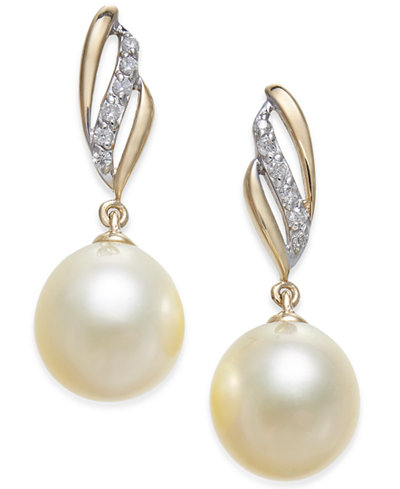 Cultured Golden South Sea Pearl (9mm) and Diamond (1/10 ct. t.w.) Drop Earrings in 14k Gold