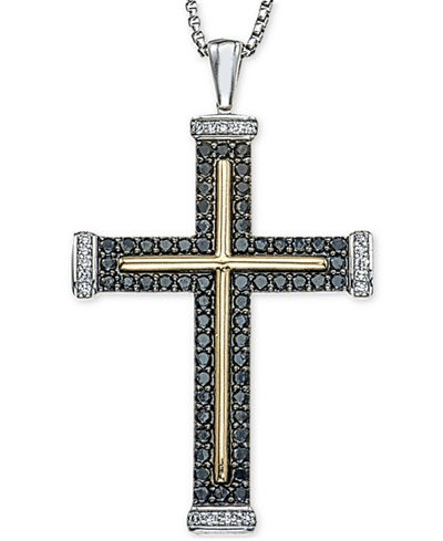 Mens diamond two tone cross pendant necklace 1 ct tw in mens diamond two tone cross pendant necklace 1 ct tw in sterling mozeypictures Image collections