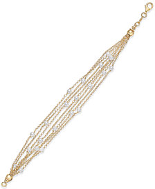 Cultured Freshwater Pearl (4mm) Multi-Chain Link Bracelet in 14k Gold-Plated Sterling Silver