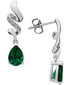 Lab Created Emerald (2 ct. t.w.) & Diamond Accent Drop Earrings in Sterling Silver