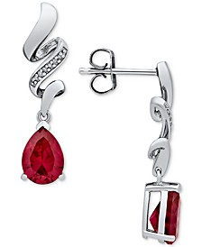 Lab Created Ruby (3 ct. t.w.) & Diamond Accent Drop Earrings in Sterling Silver