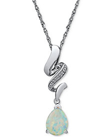 Lab Created Opal (3/4 ct. t.w.) & Diamond Accent Pendant Necklace in Sterling Silver