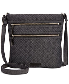 Vera Bradley Iconic Triple-Zip Denim Hipster Crossbody