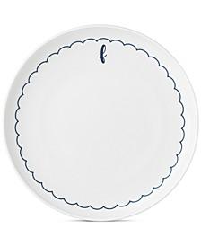 Navy Scallop Monogram Dinner Plate