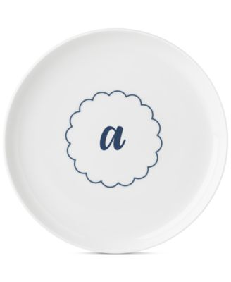 Navy Scallop Monogram Accent Plate
