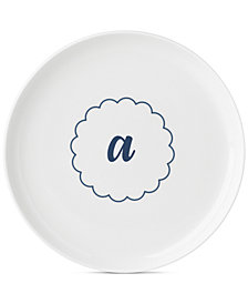 Lenox Navy Scallop Monogram Accent Plate