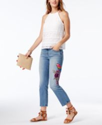 INC International Concepts Lace Top & Embroidered Jeans, Created for Macy's