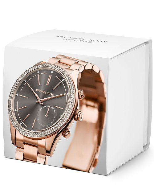 ac03d073b ... Michael Kors Access Women's Slim Runway Rose Gold-Tone Bracelet Hybrid  Smart Watch 42mm MKT4005 ...