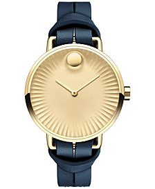 Movado Women's Swiss Edge Blue Leather Strap Watch 34mm 3680036