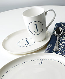 Lenox Navy Dots Monogram Dinnerware Collection