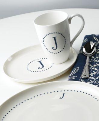 lenox navy dots monogram dinnerware collection - Lenox Dinnerware