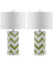 Set of 2 Chevron Ceramic Table Lamps