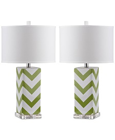 Safavieh Set of 2 Chevron Ceramic Table Lamps