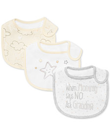 First Impressions 3-Pk. Stars & Clouds Bibs, Baby Boys & Girls, Created for Macy's