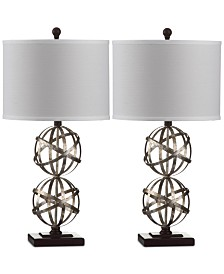 Safavieh Set of 2 Haley Double Sphere Silver-Tone Table Lamps