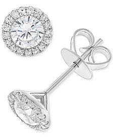 Diamond Halo Stud Earrings (1 ct. t.w.) in 14k White Gold