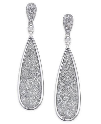 Diamond Glitter Drop Earrings (1/5 ct. t.w.) in Sterling Silver