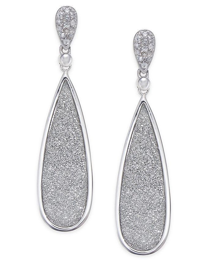 Macy's - Diamond Glitter Drop Earrings (1/5 ct. t.w.) in Sterling Silver