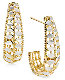 Two-Tone Filigree and Disc J-Hoop Earrings in 14k Gold and White Gold