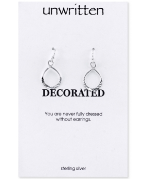 Unwritten Sterling Silver Earrings, Textured Twist Drop