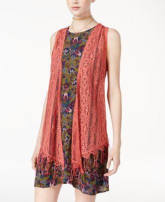 Self Esteem Juniors' 3-Pc. Printed Dress, Vest & Necklace Set