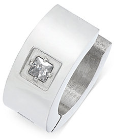 Sutton by Rhona Sutton Men's Stainless Steel Cubic Zirconia Solitaire Huggie Hoop Earring