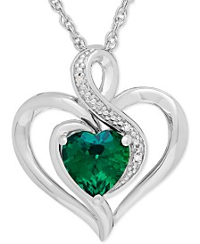 Lab-Created Emerald (1-1/8 ct. t.w.) & Diamond Accent Heart Pendant Necklace in Sterling Silver