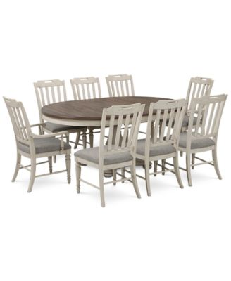 Barclay Expandable Round Pedestal Dining, 9 Pc. Set (Round Dining Pedestal  Table, 6 Upholstered Side Chairs U0026 2 Upholstered Arm Chairs)