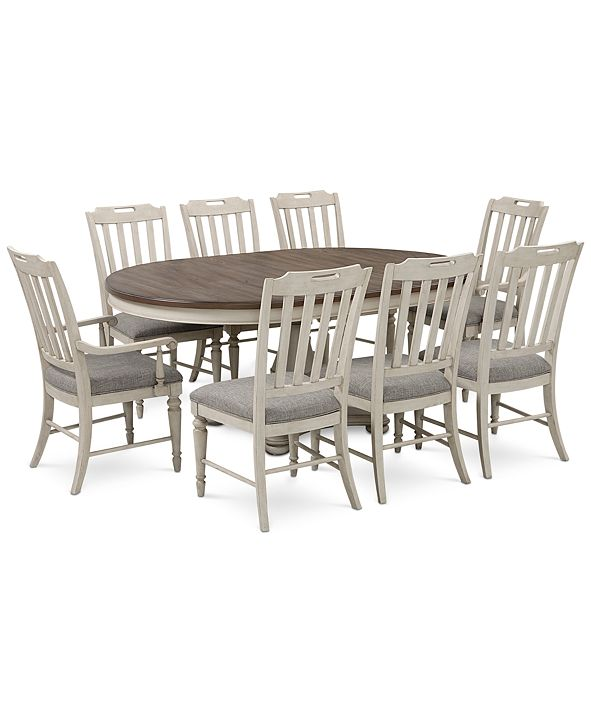 Furniture Barclay Expandable Round Pedestal Dining, 9-Pc. Set (Round Dining Pedestal Table, 6 Upholstered Side Chairs & 2 Upholstered Arm Chairs)