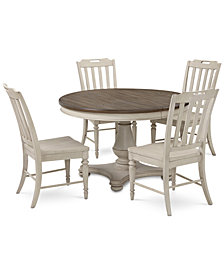 Barclay Expandable Round Pedestal Dining, 5-Pc. Set (Round Dining Pedestal Table & 4 Side Chairs)