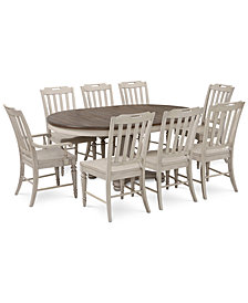 Barclay Expandable Round Pedestal Dining, 9-Pc. Set (Round Dining Pedestal Table, 6 Side Chairs & 2 Arm Chairs)