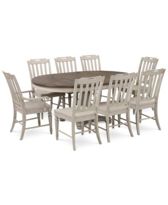 Barclay Expandable Round Pedestal Dining, 9 Pc. Set (Round Dining Pedestal  Table, 6 Side Chairs U0026 2 Arm Chairs)