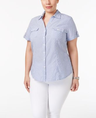 Karen Scott Plus Size Textured Short-Sleeve Shirt, Only at Macy's