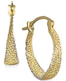 Textured Hoop Earrings in 10k Gold