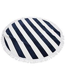 Cassadecor Round Stripe Fringe Cotton Beach Towel