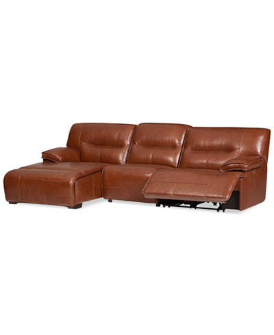 CLOSEOUT! Beckett 3-pc Leather Sectional Sofa with Chaise & 1 Power Recliner, Created for Macy's