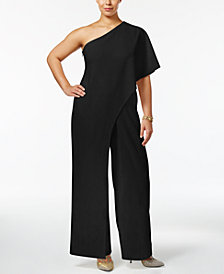 Adrianna Papell Plus Size Draped One-Shoulder Jumpsuit