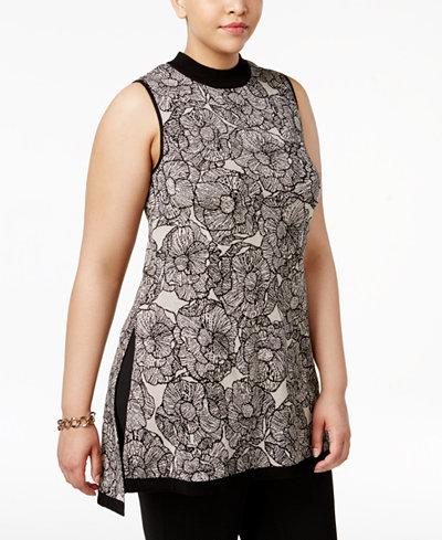 Anne Klein Plus Size Cotton Mock-Turtleneck Tunic